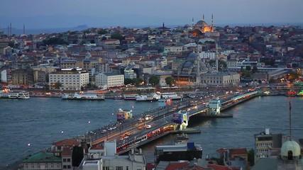 Night view of Istanbul's Galata Bridge