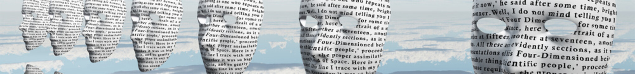 Humanlike faces covered in text