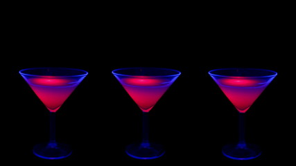 Cocktail under UV lights.