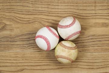 Used Baseballs on Aged Wood