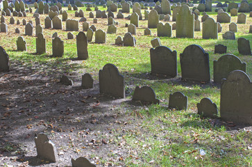 Boston, USA - October, 3: Granary Burying Ground in Boston, MA,