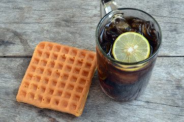 Coke with lemon and Sweet waffles