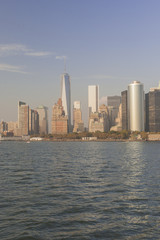 Manhattan Skyline  over Hudson River, New York City. Vertical Im