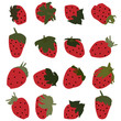 Strawberry vector set