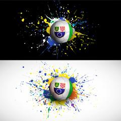 Bosnia & Herzegovina flag with soccer ball dash on colorful