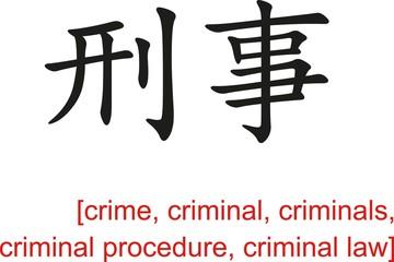 Chinese Sign for crime, criminal, criminals, criminal law