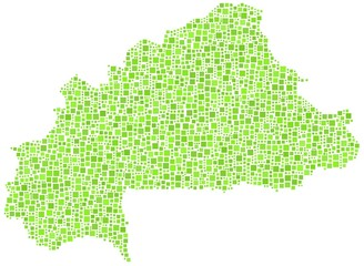 Decorative map of Burkina Faso in a mosaic of green squares