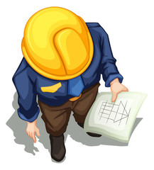 A topview of an engineer working