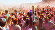 People at Festival of colors Holi Barcelona