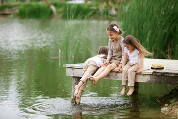 Children near pond