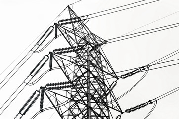 Black and white  power transmission lines