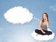 Young girl sitting on cloud and thinking of abstract speech bubb