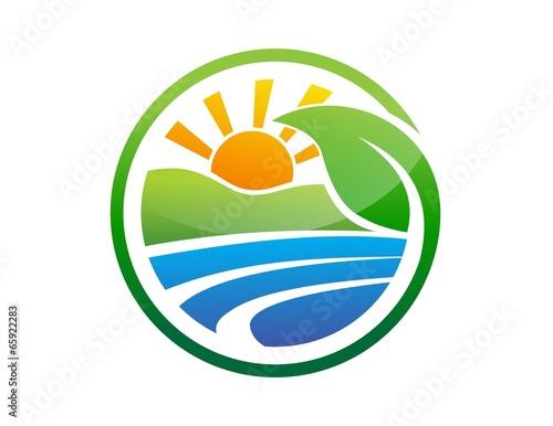 global nature logo plant symbol,sun power,energy solar icon - 65922283