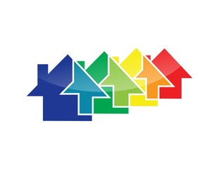house logo,real estate symbol,multiple home icon,colorful