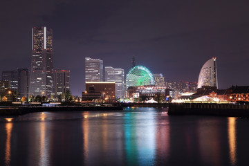 View of marina bay at night in Yokohama City