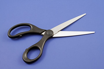 Scissors On A Blue Background