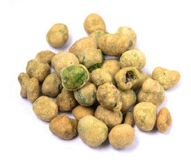Green peas crispy frie white background.