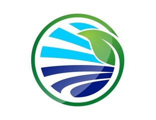 global nature logo,circle plant symbol,underwater and river icon