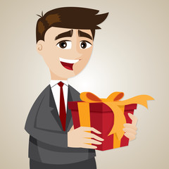 cartoon businessman with gift box