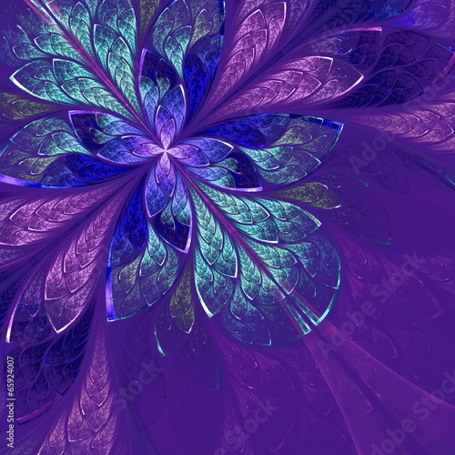 Beautiful fractal flower in blue, violet and green. Computer gen