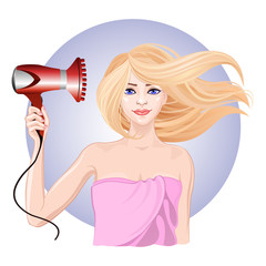 Young girl dries hair the hair dryer