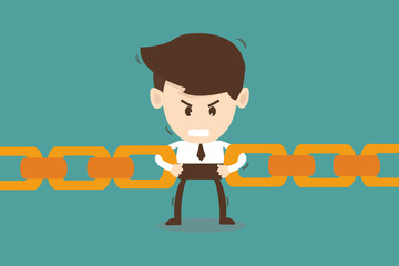 Businessman link chain together - Business concept