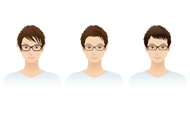 若い男性 メガネ