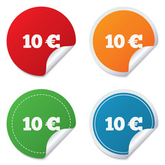 10 Euro sign icon. EUR currency symbol.