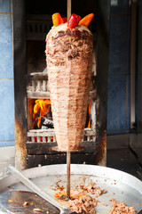 Shawarma meat on rotating spit