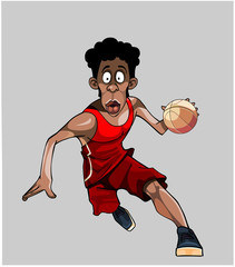 cartoon basketball player runs with the ball,isolated