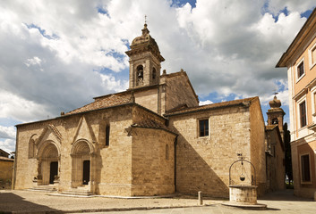 Antique cathedral of San Quirico d'Orcia, Siena, Italy
