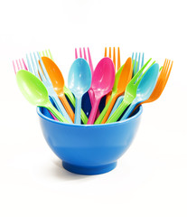 Plastic tableware consisting of spoon, fork and bowls