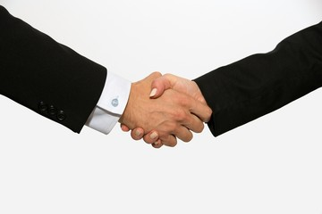 Business dressed male and female shaking hands.