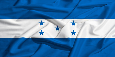 Honduras flag on a silk drape waving