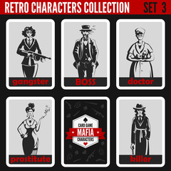 Retro vintage people collection. Mafia noir style. Gangsters.