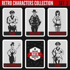 Retro vintage people collection. Mafia noir style. Cop, Sheriff.