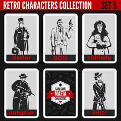 Retro vintage people collection. Mafia noir style. Doctor, Boss.