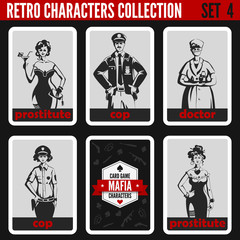 Retro vintage people collection. Mafia noir style. Prostitutes.