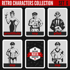 Retro vintage people collection. Mafia noir style. Hooker, Cops.