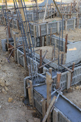 construction house, reinforcement metal framework for concrete p