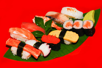 Japanese food Sushi dinner set on red background