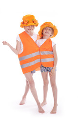 two girls in orange outfit