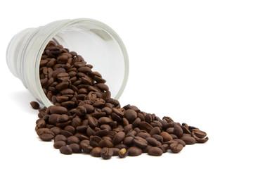 Kaffeebohnen ausgekippt