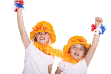 two girls in orange cheer