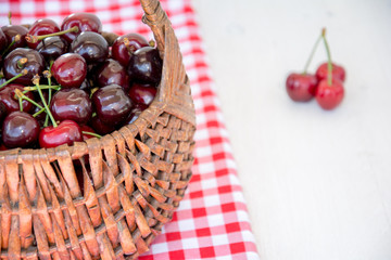 A hamper of red cherries over a red tablecloth