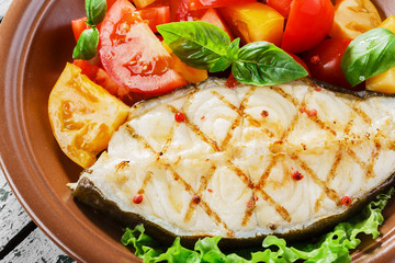 fish steak grilled vegetables  lancet fish