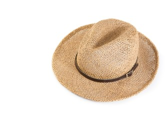 Vintage summer straw hat isolated