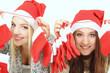 Rote Socken und Weihnachtsmützen