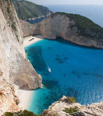 Navagio shipwreck beach in Zakynthos, Greece