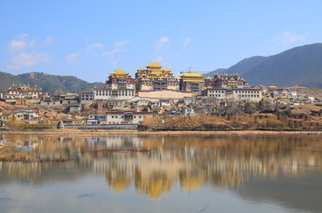 Tibetan Temple on the Hill in Yunnan, China